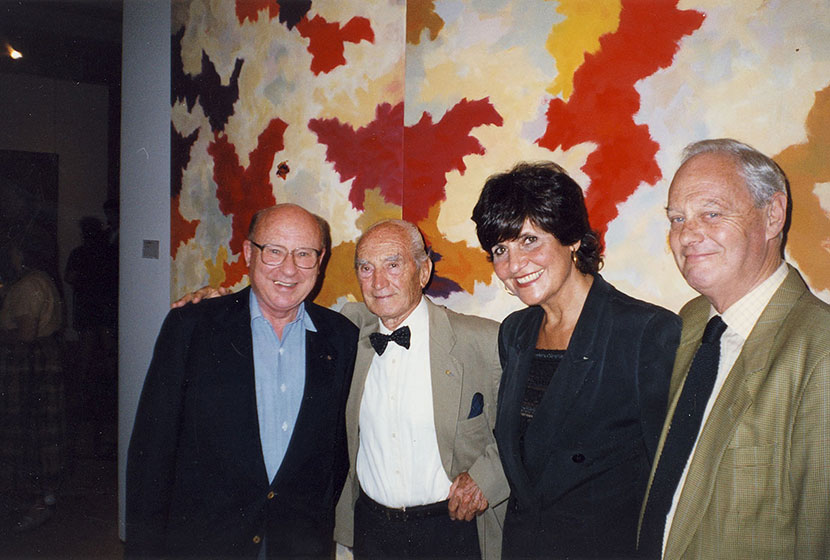 1999. Franco with National Trust's Elsa Aitkin, President Barry O'Keefe and journalist Peter Ross.