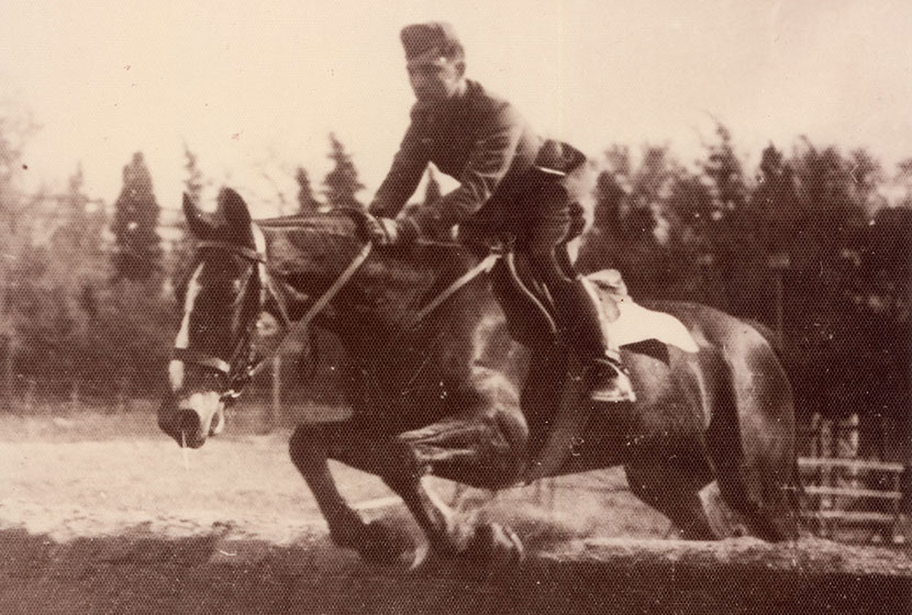 Late 1930s. Franco Belgiorno-Nettis horse-riding at the Academy in Turin