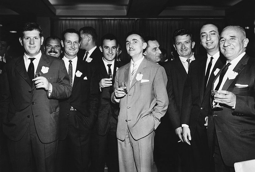 Circa 1960, Transfield's executives celebrating.
