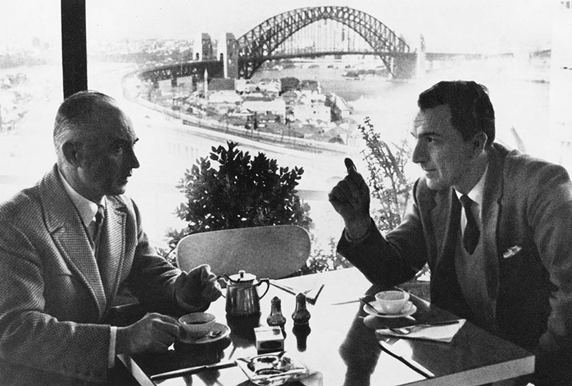 Belgiorno-Nettis and Salteri on the thirteenth floor of Transfield House in the early 1960s.