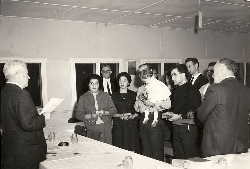 1966. Transfield workers during a naturalisation ceremony at Port Kembla.