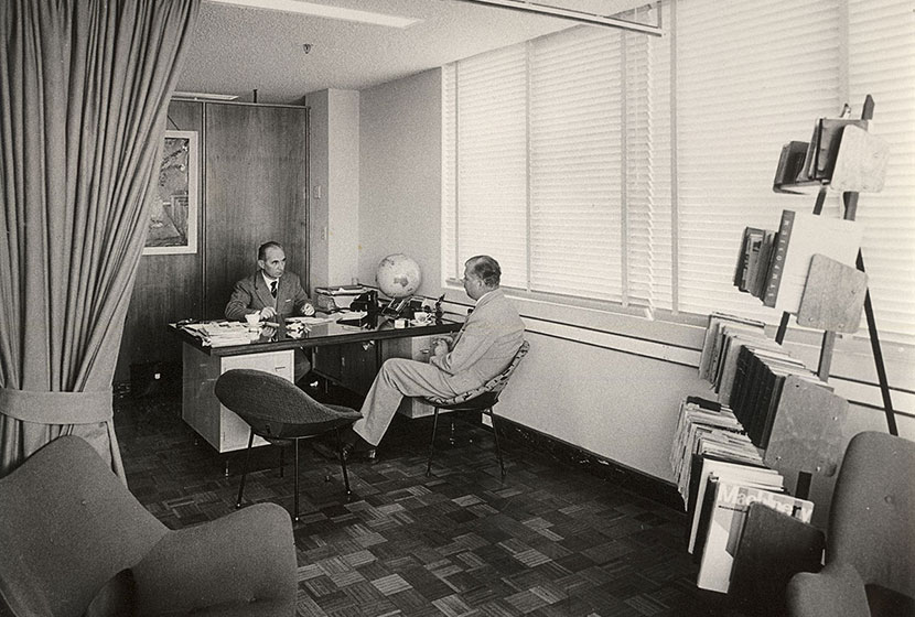 Circa 1959-60. Franco Belgiorno-Nettis in his office at Transfield House, North Sydney.
