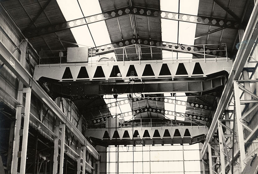 1960s. Interior of the heavy workshop, Seven Hills, showing two 25-tonne overhead cranes.
