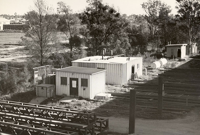 1966. Seven Hills. Storage area and transformer alongside Toongabbie Creek.