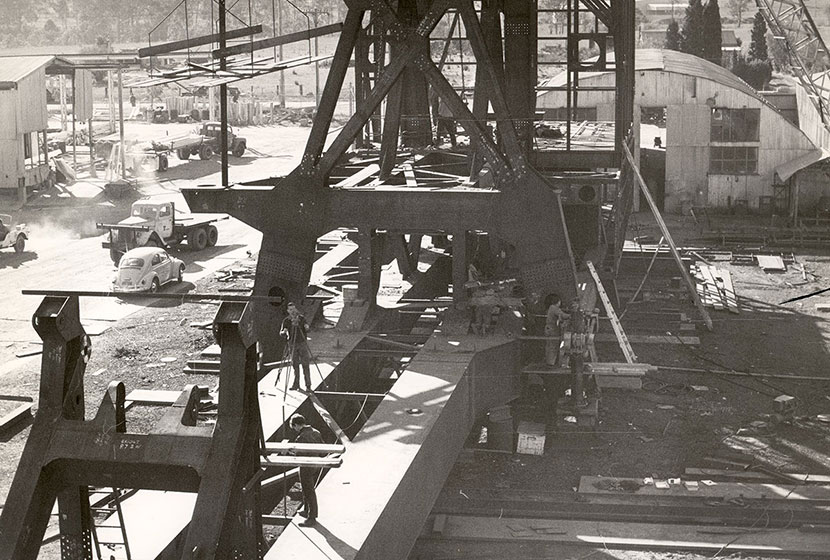 1966. Seven Hills workshop. Fabrication of machinery deck for the unloader at Gladstone, Queensland.