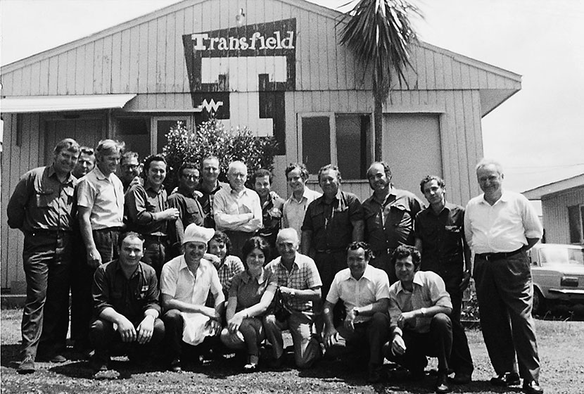 1976. Franco and his staff in front of the office of the Port Kembla Hostel.