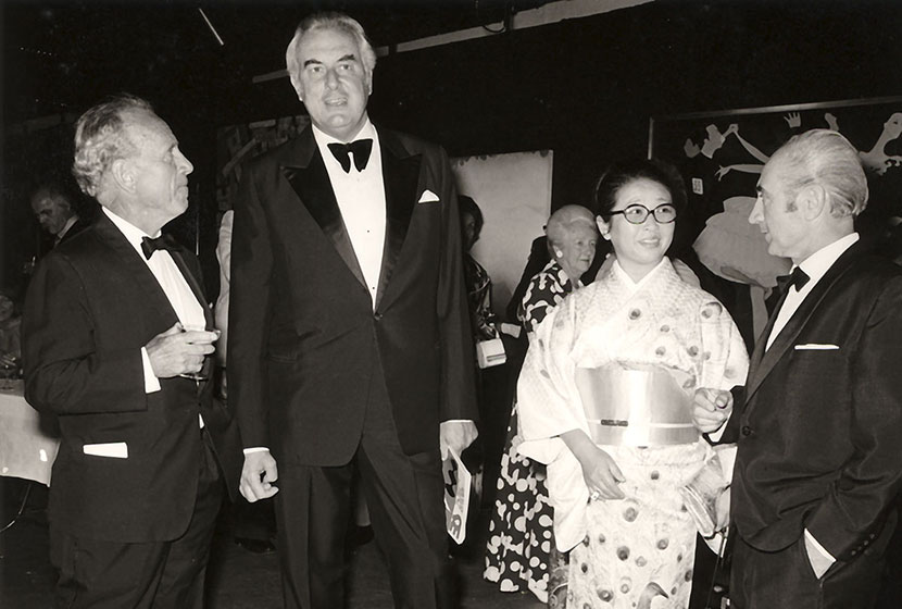 1973. Opening of the first Biennale of Sydney. Dr Coombs, P.M. Gough Whitlam, Sculptress Minami Tada and Franco.