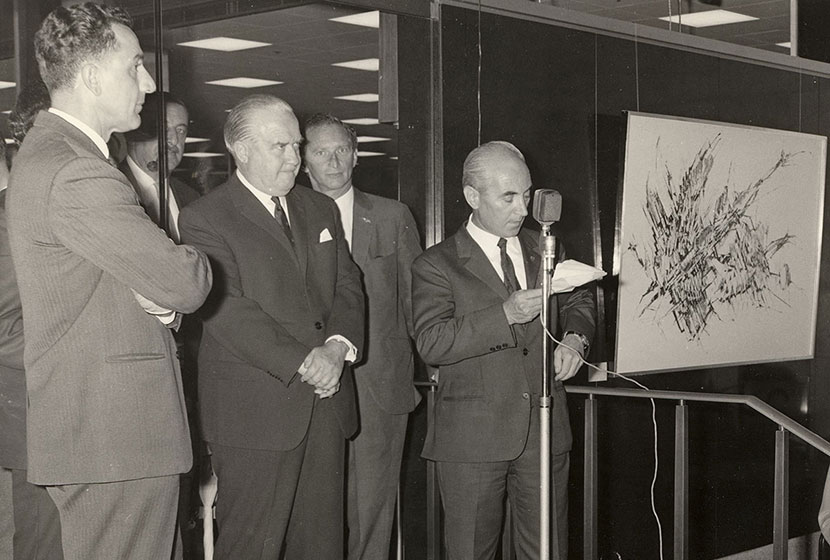 1967. Transfield Art Prize. Carlo and Franco with the Premier of NSW, Robert Askin.