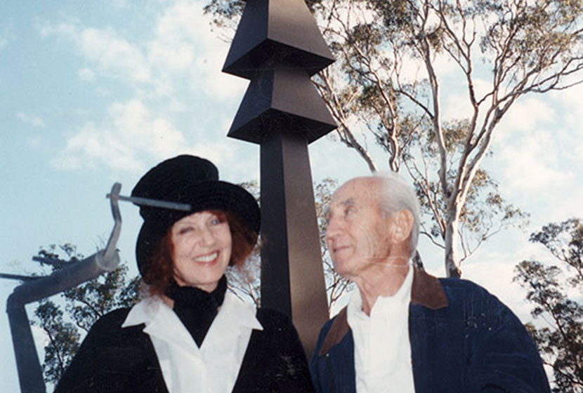 Franco with Wendy Whiteley, in front of Brett Whiteley's Black Totem II, at Walsh Bay, Sydney.