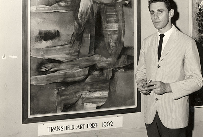 Sibley in front of his painting, Bathers.
