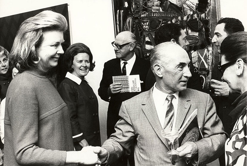 1968. Transfield Art Prize Sydney's Lord Mayor, John Armstrong is in the background.