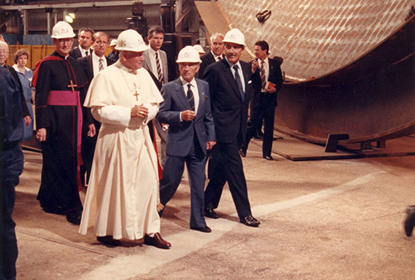 The Pope on the factory floor.
