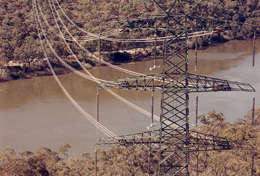 Terminal tower of the 500kw Eraring-Hawkesbury - Sydney West transmission line.