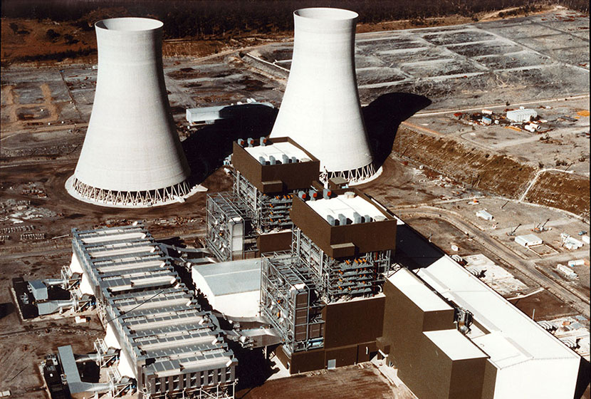 Aerial view of Mt Piper power station, NSW.