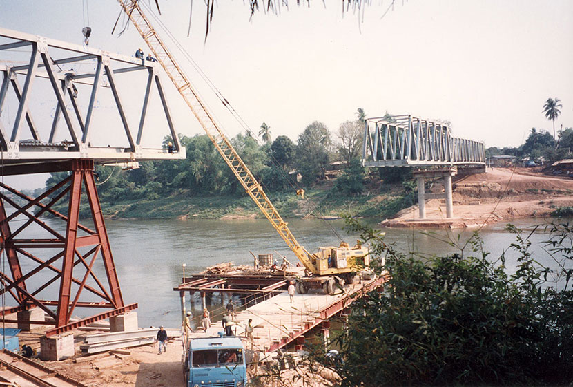 Construction of a bridge in Laos.