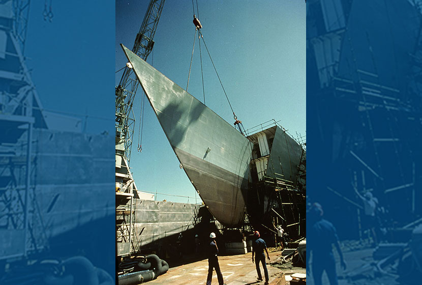 Williamstown Dockyard, Melbourne. Bow of a frigate being lifted.