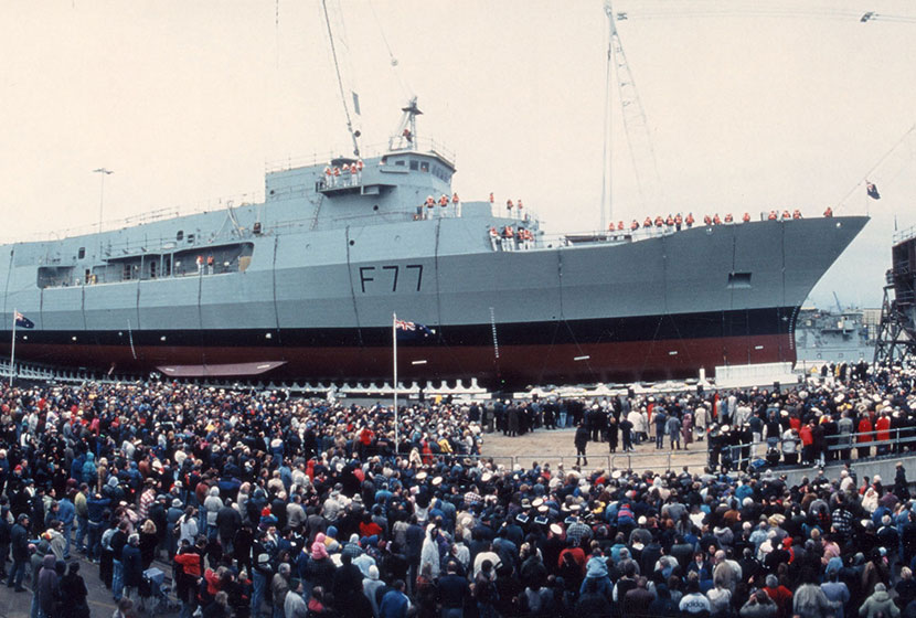 1995. Williamstown Dockyard launch of HMNZS Te Kaha, the first of two frigates built for New Zealand.