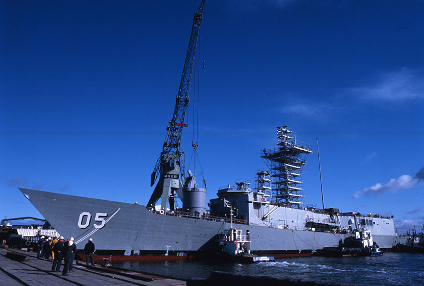 HMAS Melbourne being fitted out at Transfield's Williamstown Dockyard.