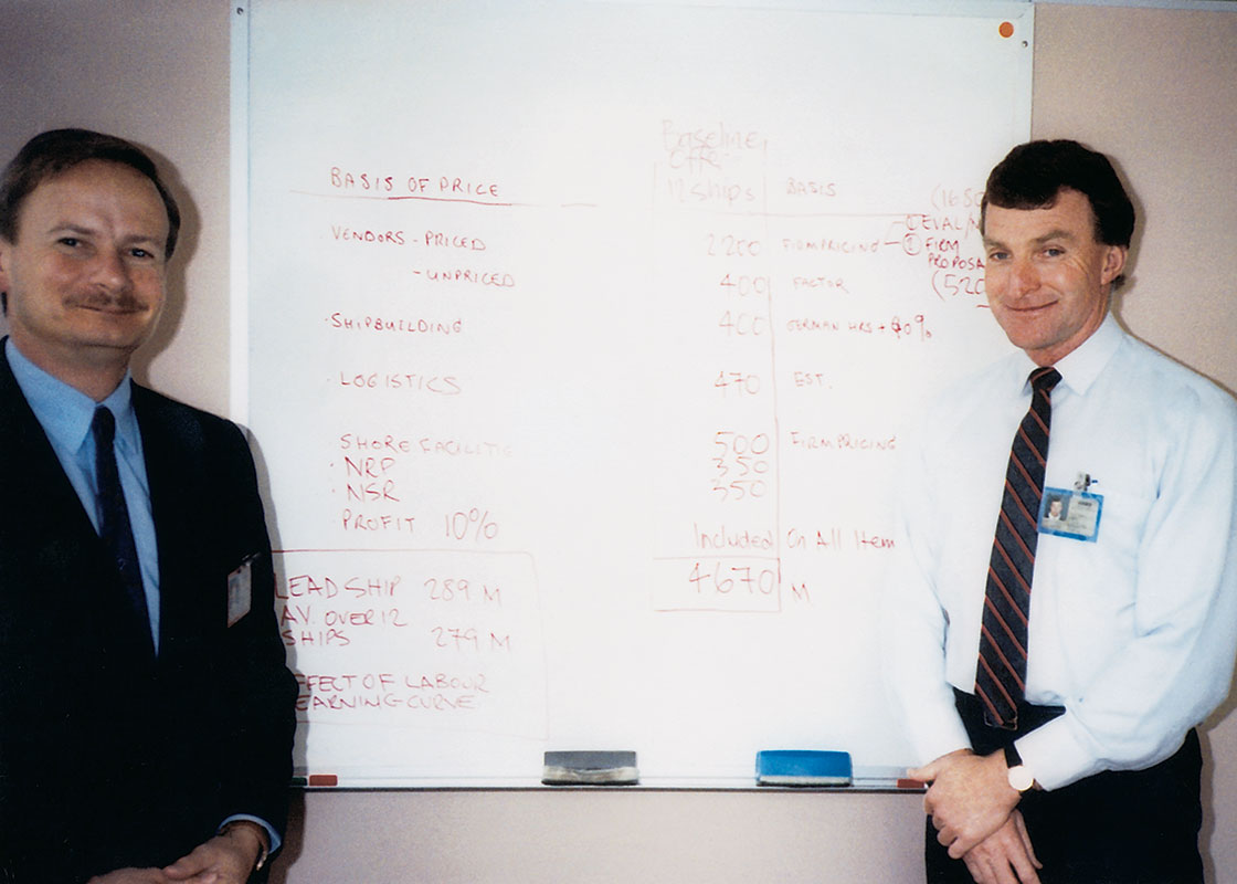 1990 Anthony Shepherd and Chief Estimator Gar Seaborne calculate the ANZAC frigates project.