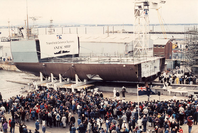 1995. The keel of HMAS Arunta, the third of the ten ANZAC frigates, is being laid.