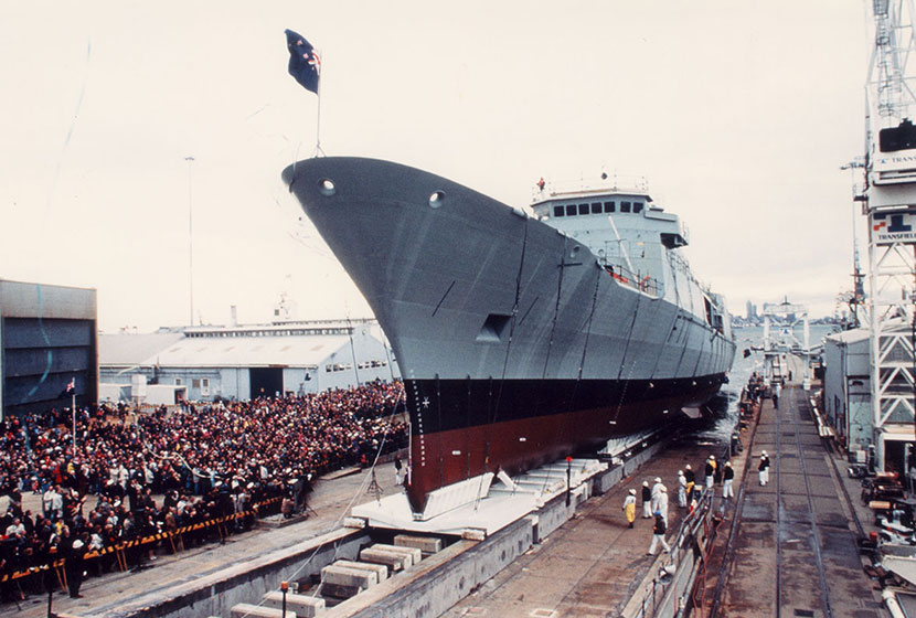 1995. The launch of HMNZS Te Kaha, the first of two frigates built for New Zealand.