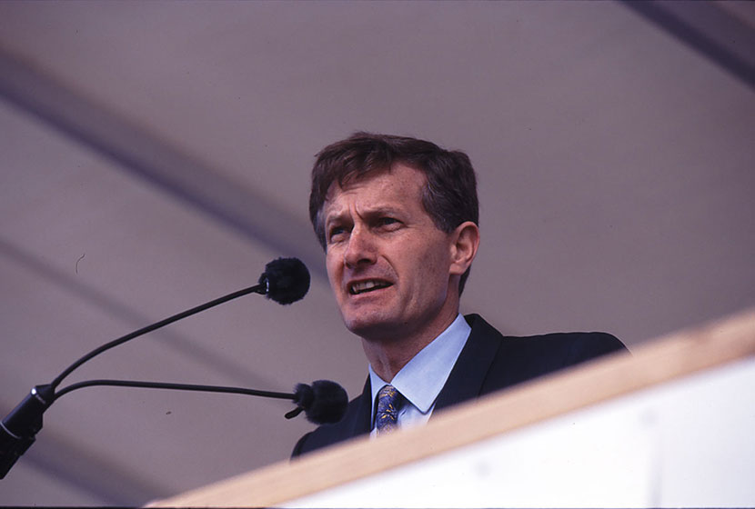 1994. AMECON's Managing Director, John White, speaks at the launch of HMAS Anzac.