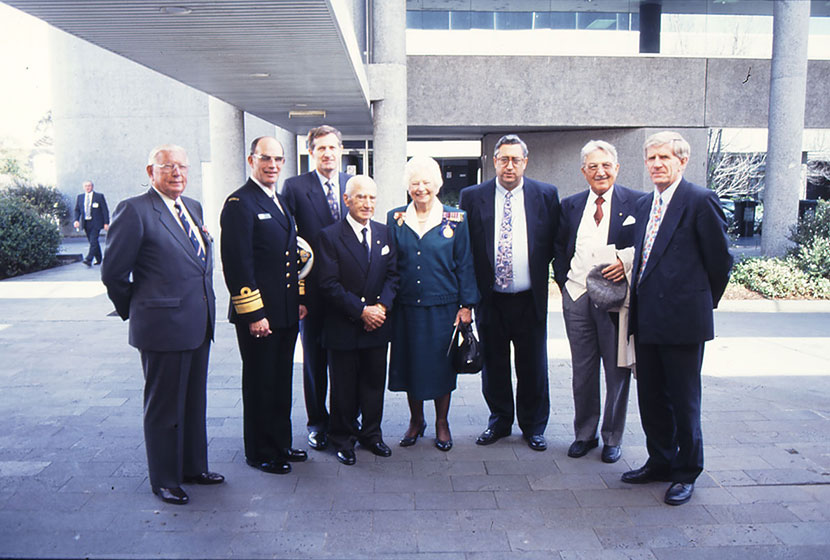1994. Launch of HMAS Anzac. Franco, Carlo and John White with Defence Minister Robert Ray and dignitaries.