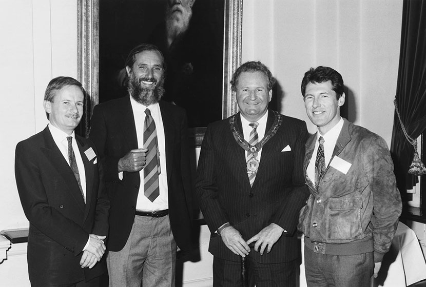 Mid-1980s. Anthony Shepherd, architect Renzo Piano, Sydney's Lord Mayor Doug Sutherland and Luca.