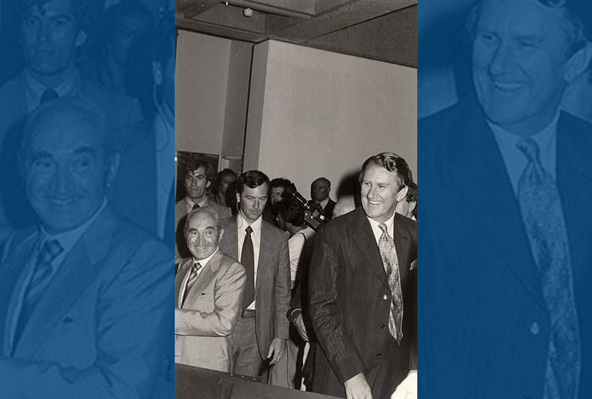 1976. Franco and Prime Minister Malcolm Fraser, who opened the second Biennale of Sydney.