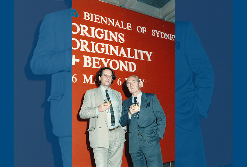 1986. Opening of the sixth Biennale of Sydney. Art dealer Bill Wright with Franco Belgiorno-Nettis.