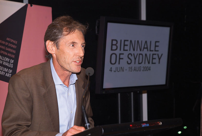 Luca, Chairman of the Biennale of Sydney, opening the event in June 2004.
