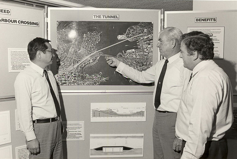 1986. Transfield engineers studying the best route for the Sydney Harbour Tunnel.