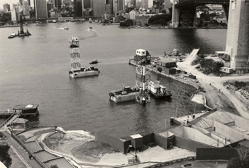 Sydney Harbour Tunnel. Preparing to receive and sink the concrete tube units near Sydney Opera House.