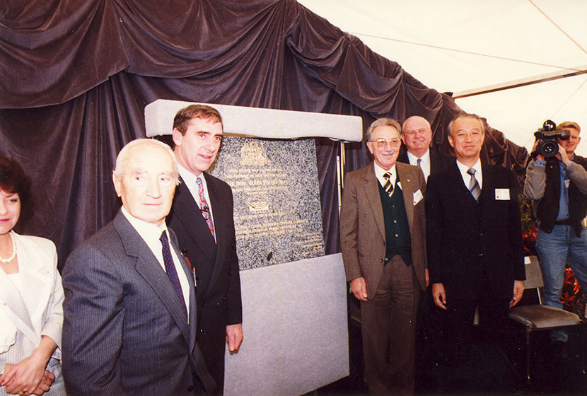 The Sydney Harbour Tunnel Opening. Franco, NSW Premier John Fahey, Carlo and Kumagai Gumi's CEO.