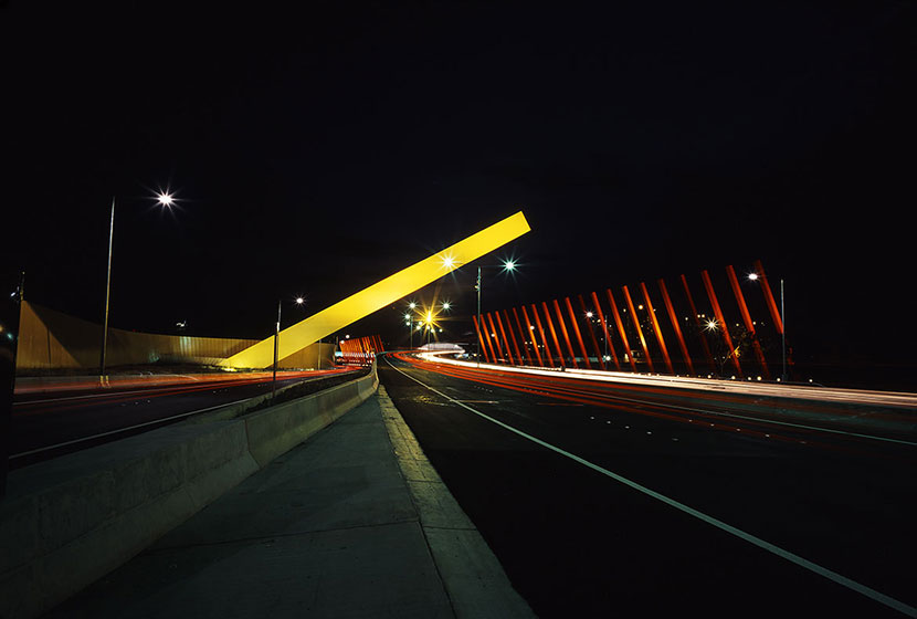 Melbourne City Link. The International Gateway by night.