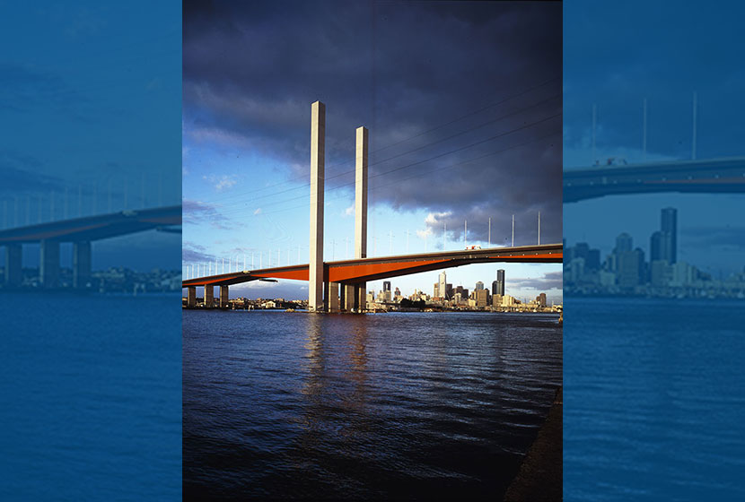 Melbourne City Link. The new Bolte Bridge over the Yarra River is 490 metres long and 30 metres of clearance.