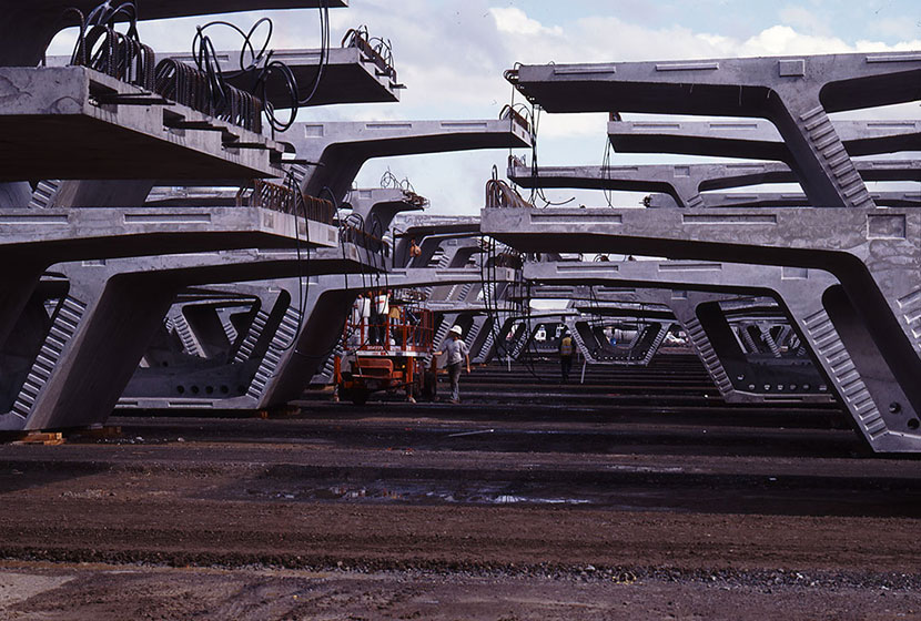 Melbourne City Link. Some of the 3,500 pre-cast segments used in the construction of the road.