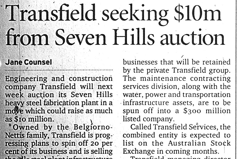 Article in the Sydney Morning Herald, 17 February 2001.