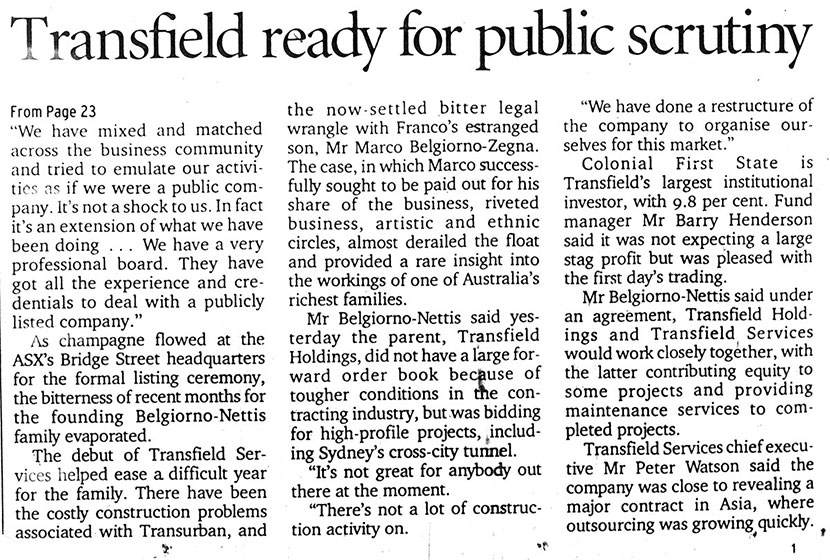 Article in the Sydney Morning Herald, 4 May 2001.