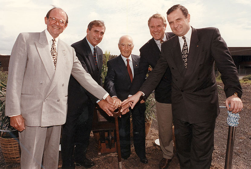 "1995. The ""breaking the ground ceremony"" for the new railway, connecting Sydney's CBD and the Airport."