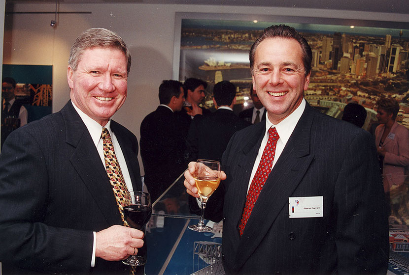 August 2000. Transfield's Robert McFeeter, and Mirvac's Gavin Carrier, at Walsh Bay function.