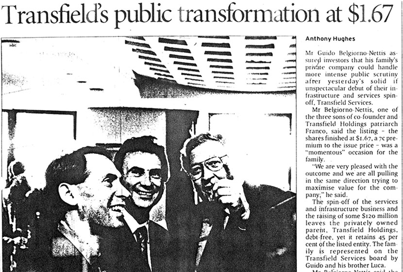"Article in the Sydney Morning Herald, 4 May 2001. ""Transfield's public transformation…"""