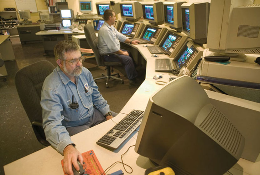 The control room of Collinsville Power Station, owned and operated by Transfield Services.